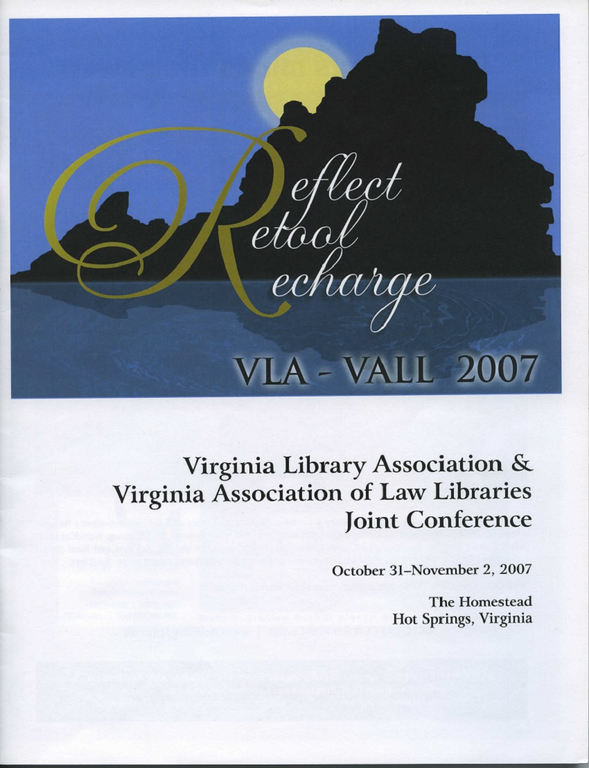 Cover for 2007 VLA-VALL Conference Program.  Silhouette of Virginia with a full moon rising above it.
