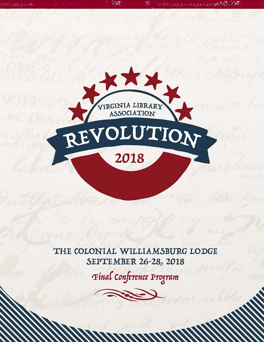 "Cover of 2018 VLA Conference Program, ""Revolution,""  seven red stars forming a half circle over the word Revolution in a blue banner and a thick red half circle underneath.  Font is similar to colonial era newspaper print."
